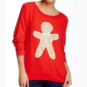 Sweaters - Wildfox Gingerbread Man Red Soft Holiday Sweater
